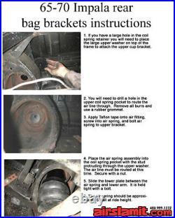 3/8 Front Rear Air Ride Suspension Bag Bracket Kit For 1965-70 Impala Caprice