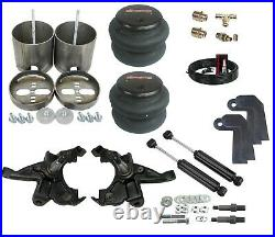 92-98 Silverado Front Air Ride Kit Bolt in Bags Drop Spindle Shock Relocator