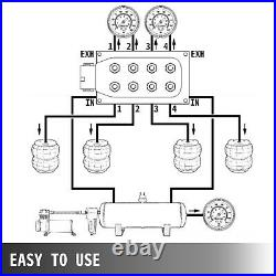 Accurate Solenoid Valve 1/4 Manifold Air Ride Bag Suspension With 12 Fittings