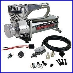 Air Bag Suspension Compressor 580 Chrome 180psi Off Pressure Switch & Filter