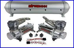 Airmaxxx chrome 480 dual air compressors & 5 gallon brushed aluminum air tank