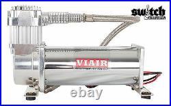 Single Viair 444C Air Compressor Ride Kit 200 psi for Air Suspension Chrome
