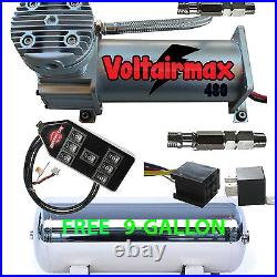 V 480C Air Compressor Ride 200psi rated 9 Gl Stainless Tank FREE 7-Switch Box