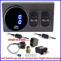 V Air Gauge Dual Digital 200psi Display 1 Elect Switch, 1 Manual Switch to dump