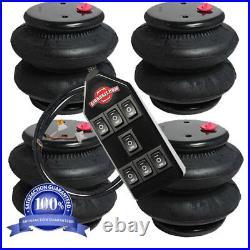 V air ride suspension air bags four 2600 1/2npt port air spring & 7-Switchbox